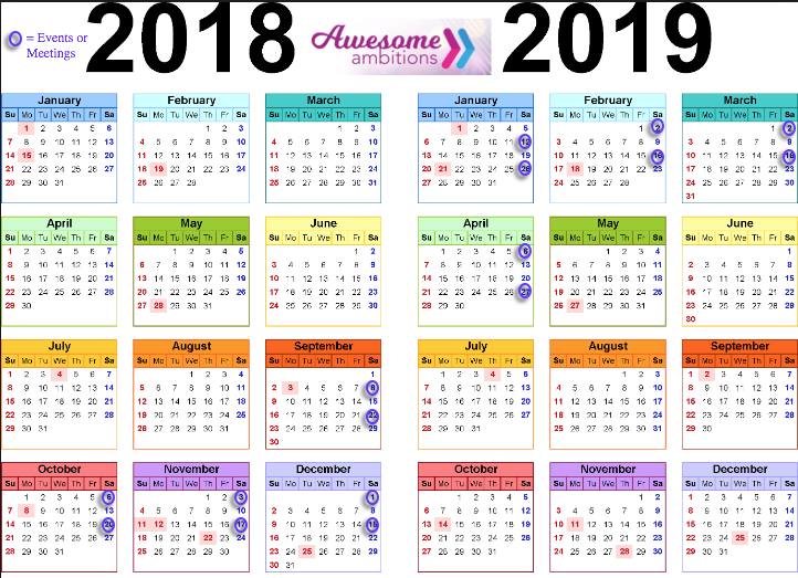 Awesome Ambitions 2018-2019 Calendar of Events
